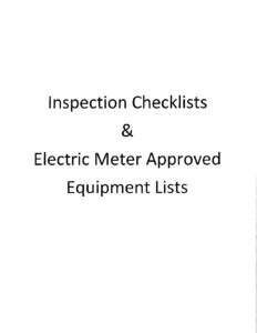 COMPLETE Inspection Checklist and Electric Meter Approved Equipment Lists